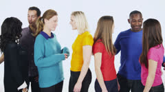 Happy multi-ethnic group of friends in colorful casual clothing - stock footage