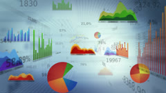 Background with business, financial data and diagrams. Dolly in. Loopable. White - stock footage