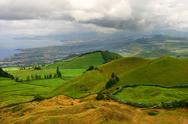 Stock Photo of azores coastal fields at sao miguel island