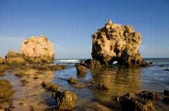 portuguese beach at algarve, the south of the country - stock photo