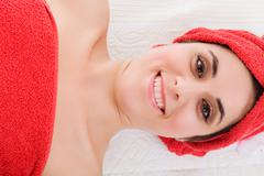 beautiful young woman getting spa treatment - stock photo