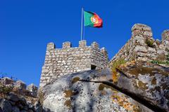 Castelo dos mouros in the village of sintra, portugal Stock Photos