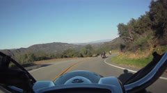 Dynamic Harley Davidson Motorcycle footage from a Bike Camera During Sunset Road Stock Footage