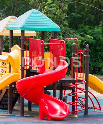 Stock photo of colourful playground equipment