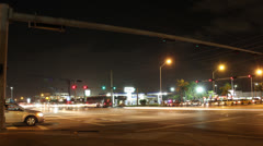 Night Time Street Intersection Time Lapse - stock footage