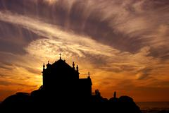 Stock Photo of church at sunset near oporto in the north of portugal
