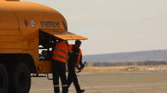 Aircraft refueling at the airport Stock Footage