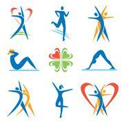 Fitness health icons Stock Illustration