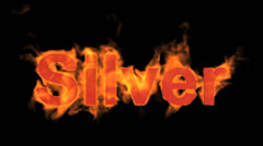 Fire silver word,flame text. Stock Footage