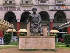 GREECE statue of Aristotelous tilt Stock Footage