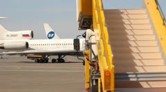 The TU-154 at the terminal, the airline UTAIR, tail number RA-85681 Stock Footage