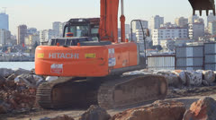 Excavator maintenance and repair service Stock Footage