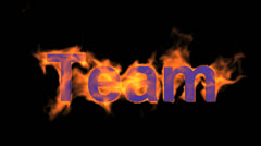 Flame team text,fire business key words. Stock Footage