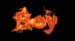 Flame boy word,fire text. Stock Footage