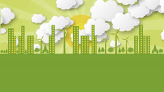 Loop.Ecology concept animation with moving coluds and wind power plant. Stock Footage