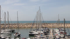 Movement of boat in marina Stock Footage