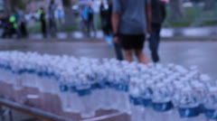Long Table Of Water Bottles Stock Footage