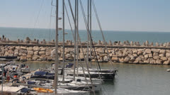 Luxury private yacht moored in the marina. Stock Footage
