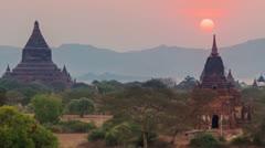 Sunset in Bagan, Myanmar Stock Footage