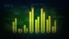 Background with business, financial data and diagrams. Dolly. Loopable. Green.  Stock Footage