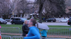 Female runner going to finish line. - stock footage