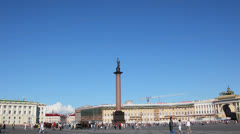 Alexander column on Palace Square, St. Petersburg Russia - timelapse in motion Stock Footage