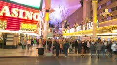 Las Vegas downtown casino Fremont time-lapse pan Stock Footage