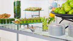 Stock Photo of hotel restaurant green breakfast setup