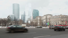 Traffic on Kutuzovsky avenue near Moscow business center Stock Footage