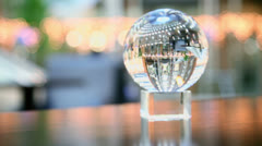 Transparent sphere shows reverse view of few elevators Stock Footage