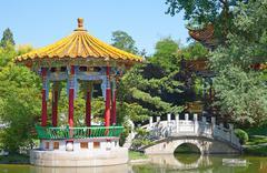 Traditional chinese garden Stock Photos