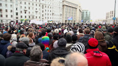 Lot of people at meeting on avenue of A.Saharov Stock Footage