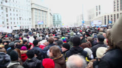 Many people at meeting on avenue of A.Saharov Stock Footage