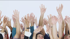 Happy hands and fingers waving in the air Stock Footage