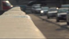 Movement of vehicles on the bridge over the Dnipro Stock Footage
