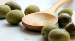 Olives and olive oil - stock footage