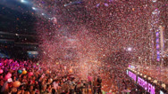 Stock Video Footage of Panorama of hall with people and confetti fly during concert