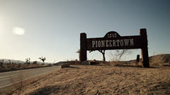 Pioneertown, CA desert town sign Stock Footage