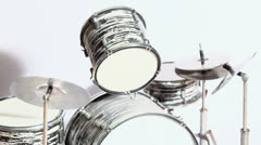Shadow motion at black-and-white drum kit isolated on white Stock Footage
