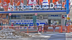 Police Station in Times Square, New York City Stock Footage
