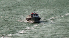 Tug Boat/Pilot Boat in front of Panama Canal Stock Footage
