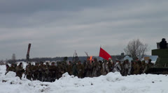 Soldiers with a red flag Stock Footage