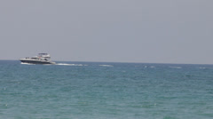 Motor boat floating in the sea Stock Footage