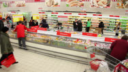 Stock Video Footage of People buy food at Auchan store in shopping center Troika