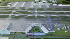 Miniature of airport airstrips project with illumination flashes Stock Footage