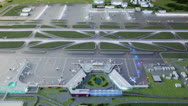 Stock Video Footage of Miniature of airport airstrips project with illumination flashes