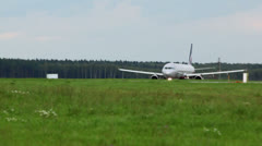 Russian passengers aircraft takes off from runway at airport Stock Footage