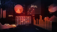 Colorful financial diagrams showing a growing tendency. Loopable 360. Red. Stock Footage