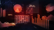 Stock Video Footage of Financial diagrams. Loopable 360. Red.