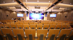 Main conference hall in RIA Novosti in Moscow Stock Footage